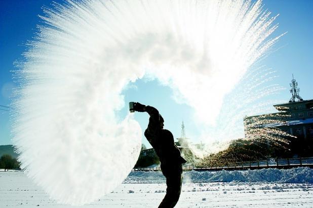 冬の面白い写真の撮影