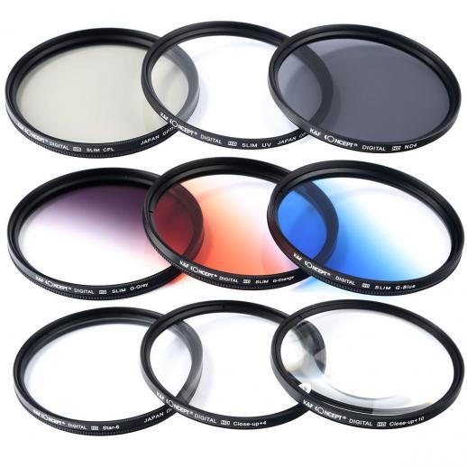 62MMフィルターキット(UV、CPL、ND4、クローズアップ +4 +10 、グラデーションフィルター3枚、スター)+クリーニングクロス/ペン/ペーパー+レンズキャップ+ポーチ+脱落防止紐
